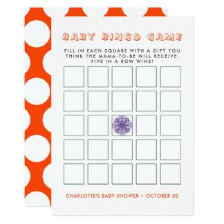 Cute Indian Elephant Rustic Baby Shower Bingo Game Card
