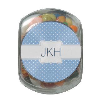 Cute initials label blue candy tin