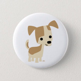 Cute Inquisitive Little Cartoon Dog 2 Inch Round Button