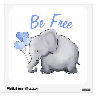 Cute Inspirational Be Free Elephant Nursery Wall Sticker