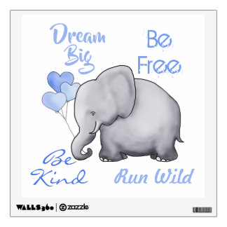 Cute Inspirational Dream Big Elephant Nursery Wall Sticker