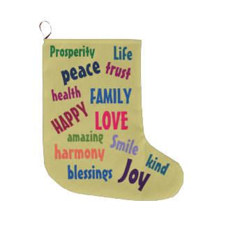 Cute Inspirational Words Design Colorful Large Christmas Stocking