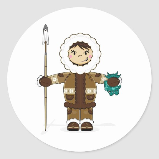 Cute Inuit Fisherman Sticker