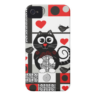 cute iPhone 4 case-mate case with cat and hearts
