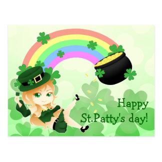 Cute Irish chibi leprechaun girl with pot of gold Postcard