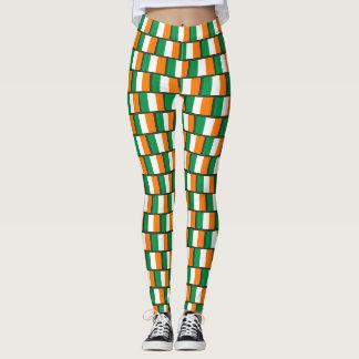Cute Irish flag pattern St Patricks Day party Leggings