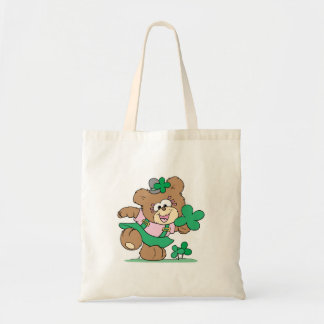 cute irish st paddy girl teddy bear design tote bag