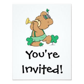 "cute irish st paddy teddy bear playing irish horn 4.25"" x 5.5"" invitation card"
