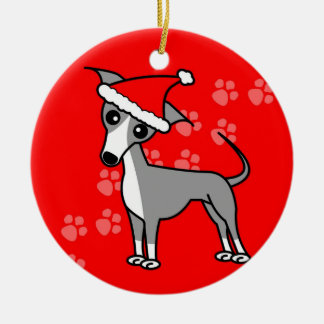 Cute Italian Greyhound Cartoon Santa Hat Ceramic Ornament