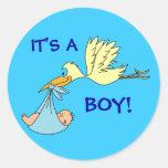 Cute ITS A BOY Newborn Baby Stork Blue Round Sticker