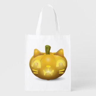 Cute Jack O Lantern Trick or Treat Candy Bag Market Tote
