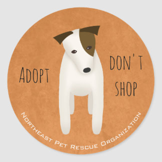 cute Jack Russell choose rescue adopt don't shop Classic Round Sticker