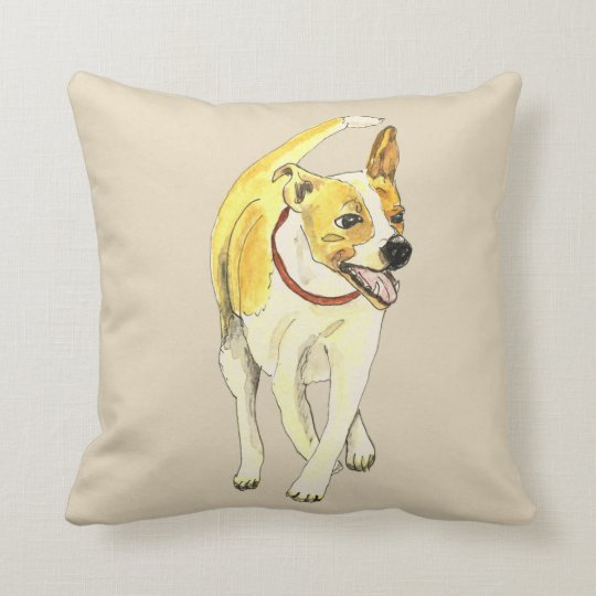 Cute Jack Russell Funny Watercolour Dog Art Design Throw Pillow