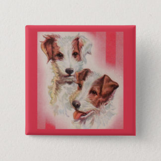 CUTE Jack Russell terriers illustration 2 Inch Square Button