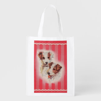 CUTE Jack Russell terriers illustration Reusable Grocery Bag