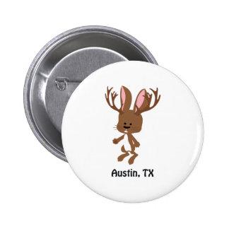Cute Jackalope - Austin, Texas Pinback Buttons