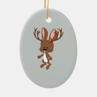 Cute Jackalope Ceramic Ornament
