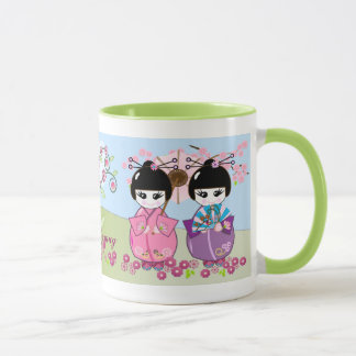 Cute Japanese dolls, cherry blossoms mug with text