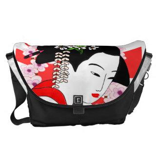 cute japanese geisha,vintage style messenger bags