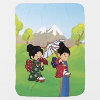 Cute Japanese Girls Walking Swaddle Blankets
