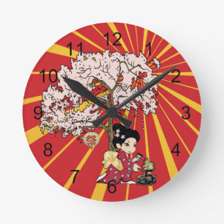 cute Japanese Inspired art Round Clock