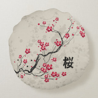 Cute japanese inspired sakura cherry blossom round pillow