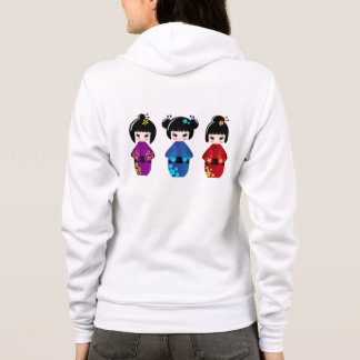 Cute Japanese kokeshi dolls name woman's hoodie