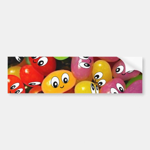 Cute Jelly Bean Smileys Bumper Stickers