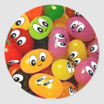 Cute Jelly Bean Smileys Round Stickers