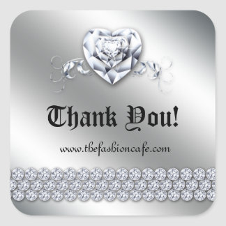 Cute Jewelry Heart Valentine's Day Silver Shiny Square Sticker