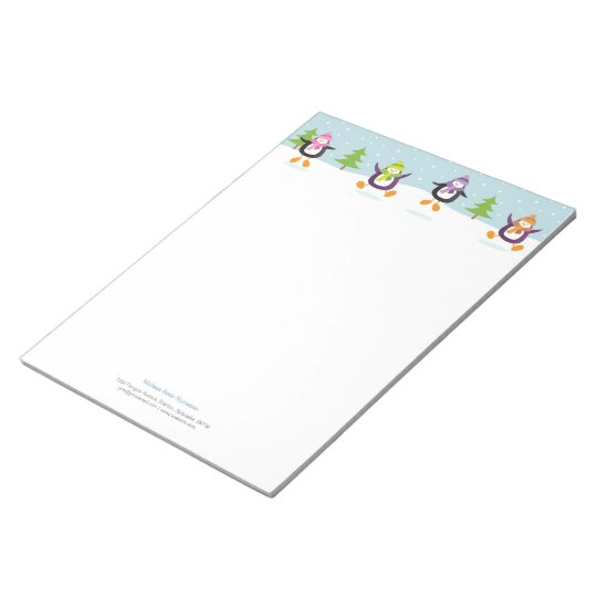 Cute Jolly Jumping Penguins Novelty Personalized Notepad
