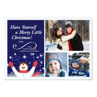 Cute Jolly Snowman Holiday Photo Card