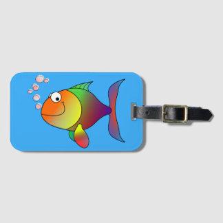 Cute Joyful Goldfish in Sea, Light Blue Luggage Tag