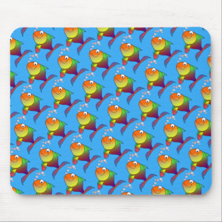 Cute Joyful Goldfish in Sea, Light Blue Mouse Pad