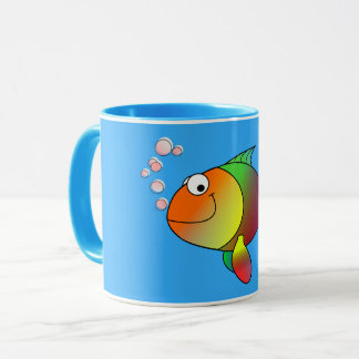 Cute Joyful Goldfish in Sea, Light Blue Mug