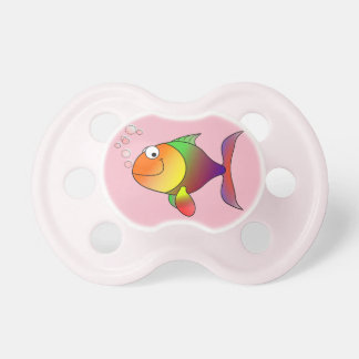 Cute Joyful Goldfish in Sea, Pink Pacifier