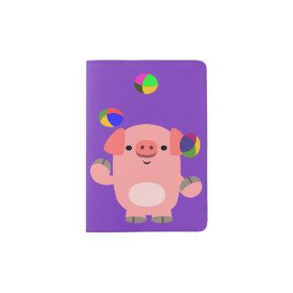 Cute Juggling Cartoon Pig Passport Holder