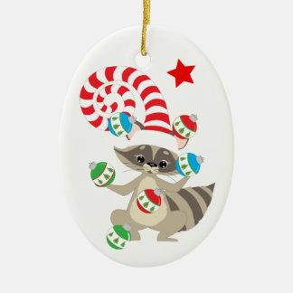 Cute Juggling Raccoon Personalized Ceramic Ornament