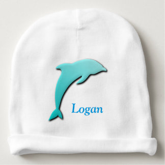 Cute Jumping Dolphin Monogram with Name Baby Beanie