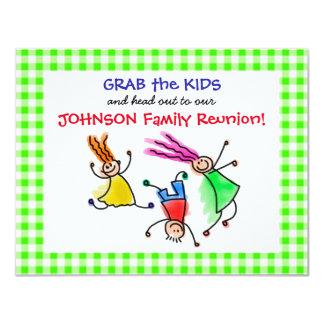 Cute Jumping Kids Family Reunion Invitation