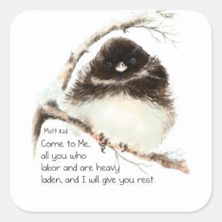 Cute Junco Bird, Scripture, Matt 11:28, Rest Square Sticker