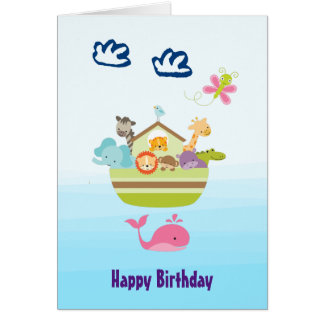 Cute Jungle Animal Ark Birthday Card