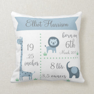 Cute Jungle Animals Baby Boy Announcement Pillow