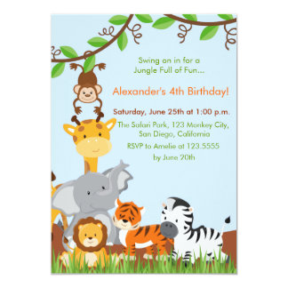 "Cute Jungle Animals Boy Birthday Party Invitation 5"" X 7"" Invitation Card"