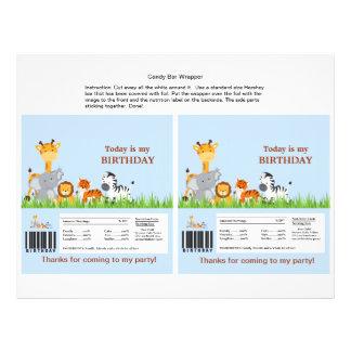 Cute Jungle Animals Boy Candy Bar Wrapper Full Colour Flyer