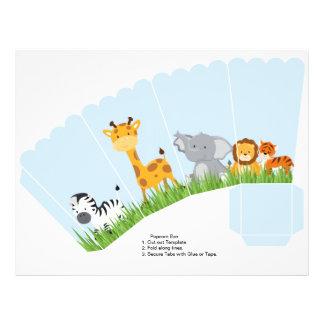 Cute Jungle Animals Boy Scalloped Popcorn Box Full Color Flyer