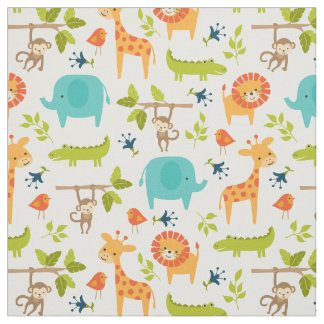 Cute Jungle Animals Fabric