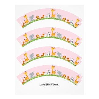 Cute Jungle Animals Girl Plain Cupcake Wrapper Custom Flyer