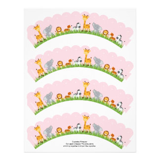 Cute Jungle Animals Girl Scalloped Cupcake Wrapper Personalized Flyer