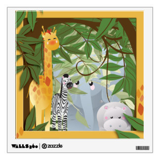 Cute Jungle Animals Kids Room Wall Decal